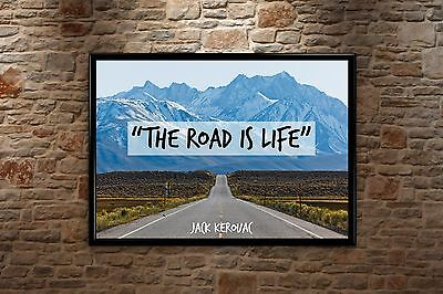£16.99 • Buy Jack Kerouac Quote - The Road Is Life - Poster Print, Wall Art, On The Road Book