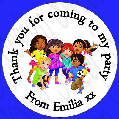 35x Personalised Dora And Friends Inspired Labels Sticker Party Sweet Cone Bags • 1.30£