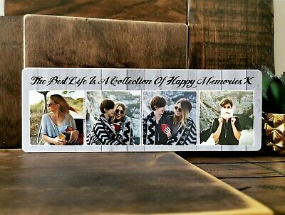£11.99 • Buy 11x4  Personalised Wooden Family Photo & Text Block Plaque Best Friend Baby Gift