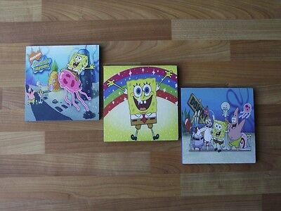 Spongebob Squarepants Set B Canvas Wall Art Plaques/pictures Set- Free Postage • 9.99£