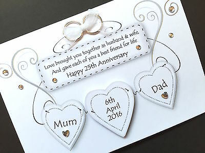 Hand-made Personalised Wedding Anniversary Hearts Card (request Colours) • 4.30£