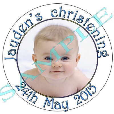 Personalised Christening Baptism Naming Labels Stickers Baby Photo Communion  • 1.55£