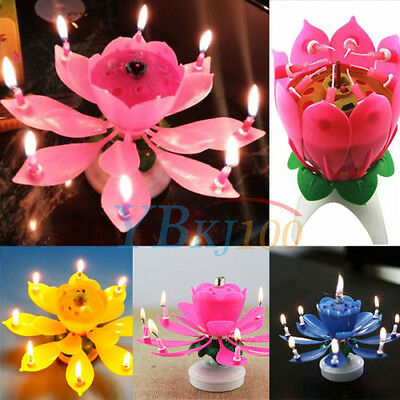$ CDN3.37 • Buy Candle Rotating Birthday Musical Lotus Flower Magic Cake Candles Happy Gifts