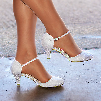Womens Ivory White Lace Low Kitten Heel Full Toe Strappy Bridal Wedding Shoes • 21.95£
