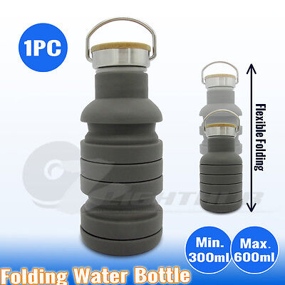 AU13.95 • Buy Collapsible Silicone Folded Hiking Gym Water Bottle Sport Outdoor Camping Kettle