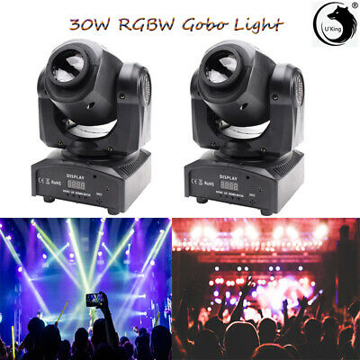 2X 30W LED Moving Head Gobo Beam Stage Lighting RGBW DMX512 For Party KTV Disco • 145.99£