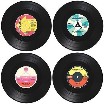 4 Vinyl Coaster Record CD Vintage Groovy Tableware Drink Decoration Retro Music • 2.91£