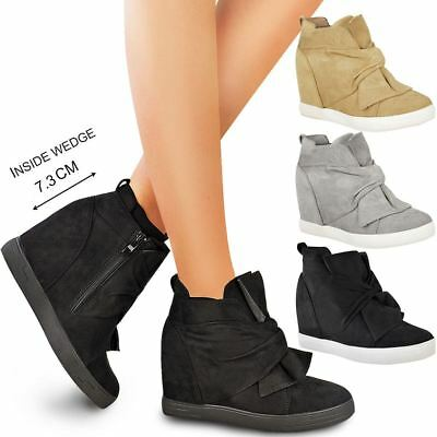 Womens Ladies Mid High Heel Wedges Trainers Hi Tops Bow Sneakers Knot Shoes Size • 24.99£