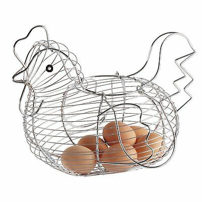 Basket Hen For Eggs Chrome Plated Chicken Hen Shaped Wire Egg Storage Basket • 11.86£