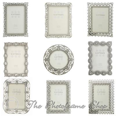£11.49 • Buy Vintage Ornate Silver Photo Frames Beads & Crystals 4x4, 6x4, 7x5 Inch Pictures.