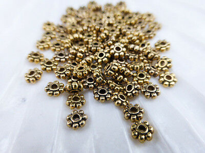£1.40 • Buy 200 X Tibetan Style Daisy Spacer Beads 4mm Antique Gold LF NF (MBX0090)