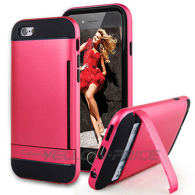 AU12.98 • Buy For IPhone 6 6S Kick-Stand Case Card Slot Holder PC & TPU Defensive Armor Cover