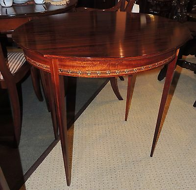 $800 • Buy Antique Oval Occasional Side End Table Round Mahogany Wood Ribbon Inlay