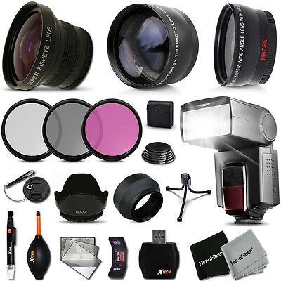 Xtech Kit For Canon EOS Rebel 650D Ultimate 58mm FishEye 3 Lens W/ Flash + MORE! • 99.18£