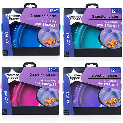 £4.49 • Buy Tommee Tippee Explora Section Plates   2 In Pack  4 Colours   Age 12m+  Bpa Free
