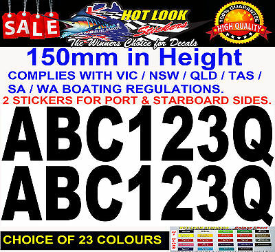 AU13.90 • Buy Boat Registration Decal Set 150mm High Vinyl Rego Stickers Numbers & Letters