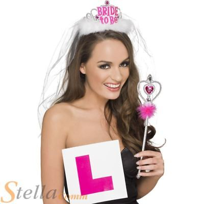 £8.95 • Buy Ladies Hen Party Bride To Be Party Set Tiara & Veil L Plate Badge Wand Kit