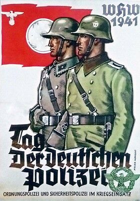 German WW2 Day Of The Police Polizei Waffen SS Officer Poster  • 6.99£