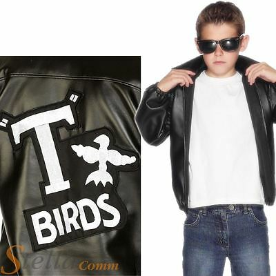 Boys Official Grease T-Birds T Bird 50s Jacket Fancy Dress Costume Danny Outfit • 19.50£
