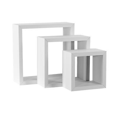Square Display Shelves Floating Wooden Wall Storage - 3 Sizes - White - Set Of 3 • 11.69£