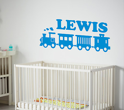 Toy Train And Name Wall Art Childs Room,cot,baby, Sticker In Vinyl  • 5.99£
