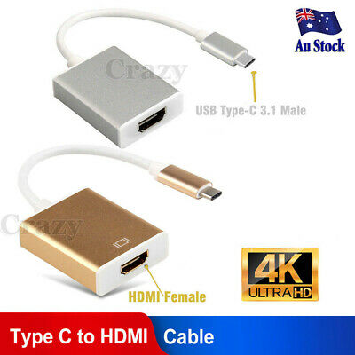 AU9.90 • Buy USB-C Type C USB3.1 Male To HDMI Female HDTV 1080p Adapter Cable For MacBook 12