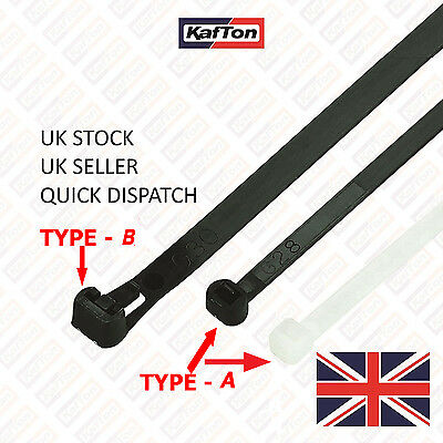 All Size Releasable/Reusable Cable Ties Black Natural Nylon Plastic Zip Tie Wrap • 3.11£