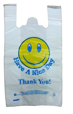 Plastic Carrier Bags Vest Thank You Jumbo 12 X18 X21  Large Size Strong 24mu Hnd • 9.95£