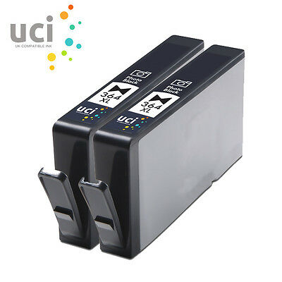 2 Photo Black 364XL INK UCI Brand Fits For Hp Photosmart C5380 7510 7520 • 5.99£