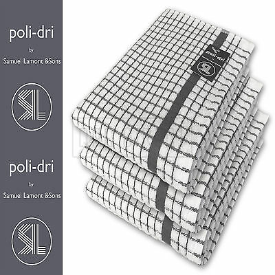 Poli Dri By Lamont, Premium Quality Large Kitchen Tea Towels, CHARCOAL, 3 Pack • 12.99£