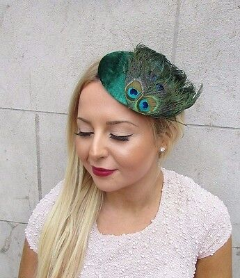 Emerald Green Peacock Feather Fascinator Hair Clip 1940s Hat Races Cocktail 2581 • 24.95£