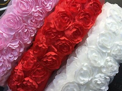 1 Yard 2 Row 3D Shabby Chic Chiffon Rose Flower Lace Trim On Net Sewing Craft • 2.99£