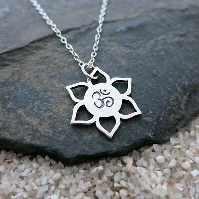 $ CDN42.11 • Buy Lotus Flower Om Necklace - 925 Sterling Silver - Namaste Ohm Yoga Charm NEW