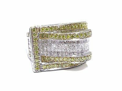14k White Gold Prong & Invisible Set 4.00ct White & Canary Diamond Ring  • 1,502.25£
