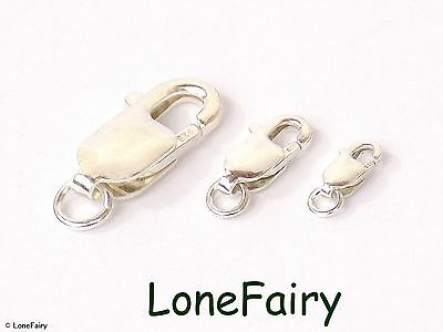 Solid 925 Sterling Silver Lobser Clasp With Jump Ring Choose Size Findings • 4.95£