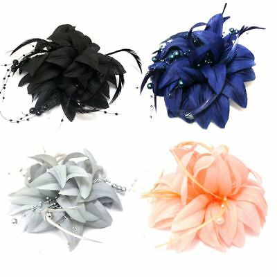 Stunning Fabric Flower Fascinator With Feathers & Pearl Beads Forked Clip Brooch • 2.99£