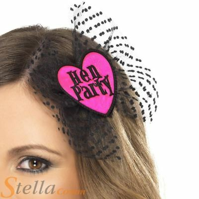 £2.99 • Buy Hen Party Hair Bow With Head Veil Netting Night Party Do Accessories