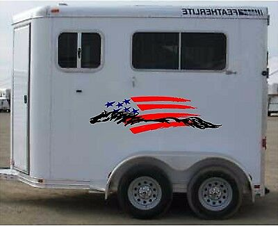 $ CDN92.27 • Buy American Flag & Horse Trailer Enclosed Trailer Graphic Decal  18x62   Set Of 2