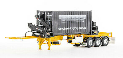 £163.10 • Buy Drake ZT09249 O'Phee BoxLoader Side Loading Trailer With Container Yellow 1:50
