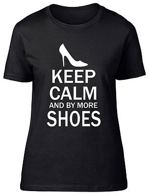 Keep Calm And Buy More Shoes Womens Ladies Shopping Footwear Tee T-Shirt • 9.99£