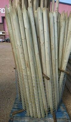 10 X 1.8m X 60mm MACHINE ROUND POINTED GARDEN TIMBER FENCE POST TREE STAKES • 35£