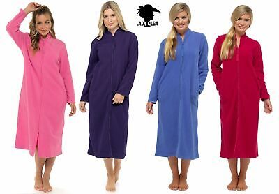 Polar Fleece Zip Front Dressing Gown By Lady Olga Blue Pink Purple Sizes 10-28 • 21.99£