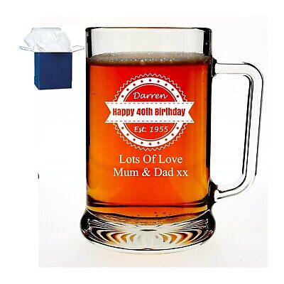 Personalised Engraved Glass Pint Tankard Birthday Gift 18th, 21st 30th 40th 50th • 11.98£