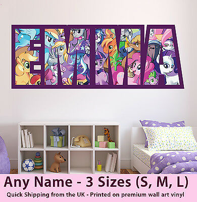 Childrens Name Wall Stickers Art Personalised My Little Pony For Girls Bedroom • 19.99£