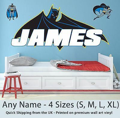 Childrens Name Wall Stickers Art Personalised Batman Logo For Boys Bedroom • 9.99£