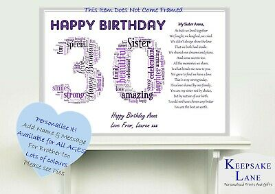 £6.79 • Buy Personalised Special Sister Poem Word Art 30th Birthday Christmas Gift Present