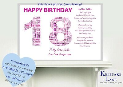 £6.79 • Buy Personalised 16th 18th 13 11th Teenage Special Sister Poem Birthday Gift Present