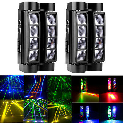 £125.59 • Buy 2PC 80W 8-LEDs RGBW LED Stage Spider Moving Lights Lighting Head DMX Disco Party