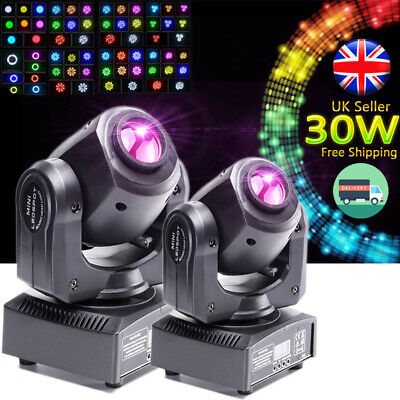 2x30W GOBO LED RGBW Stage Lighting Spot Moving Head Light DMX Disco DJ Party KTV • 109.19£