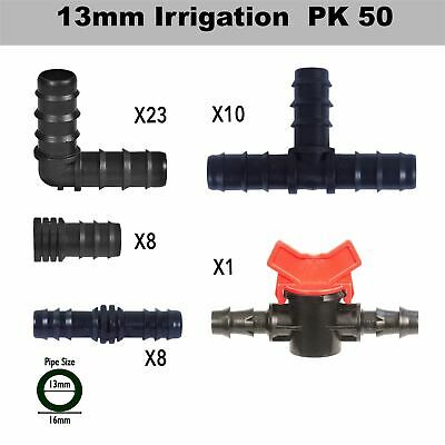 13mm Irrigation Pipe Fittings (50 Mixed Pack) + Valve Watering / Hydroponics • 13.95£